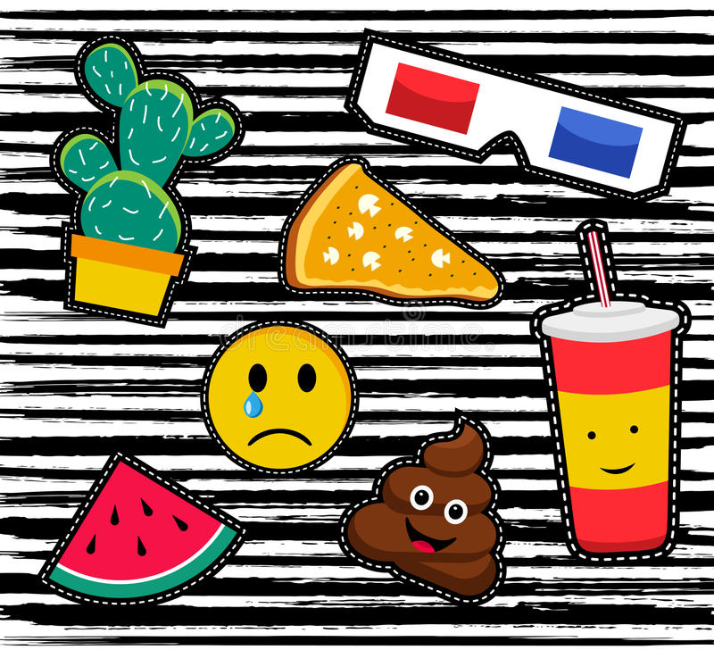 Retro patch icon set in 80s fashion style. Cute set of cartoon patch designs, colorful illustrations for sticker decoration or embroidery. EPS10 vector stock illustration