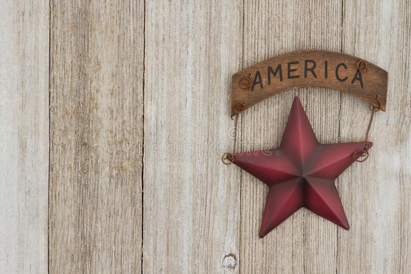 Retro patriotic USA background with star. Retro patriotic USA background, USA patriotic old star on a weathered wood background with copy space royalty free stock photo