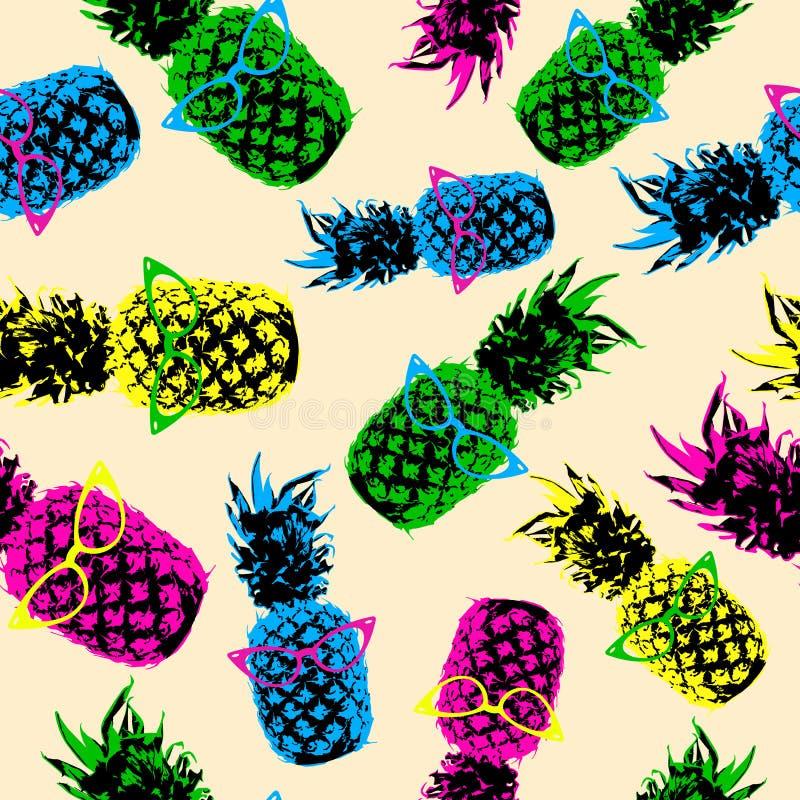 Retro patroon van de hipsterzomer met kleurenananas stock illustratie