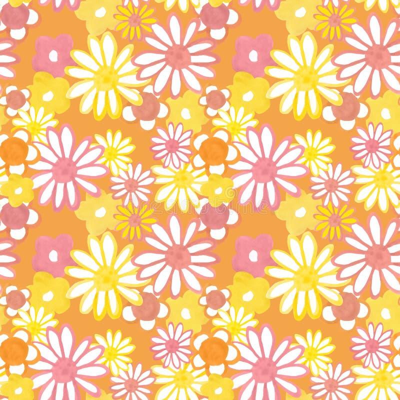 Retro patroon van de jaren '60stijl Roze en gele madeliefjebloemen op oranje achtergrond Boheemse uitstekende druk Flower power stock illustratie