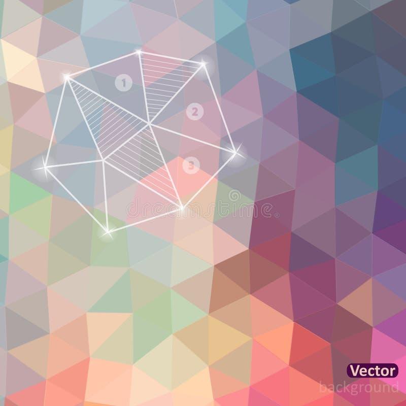 Retro patroon van geometrische vormen Rug van het driehoeks de kleurrijke mozaïek stock illustratie
