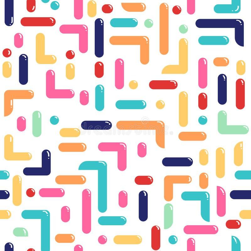 Retro patroon van Memphis - naadloze achtergrond Manier 80-jaren '90 De textuur van het mozaïek De heldere stijl van patroonmemph stock illustratie