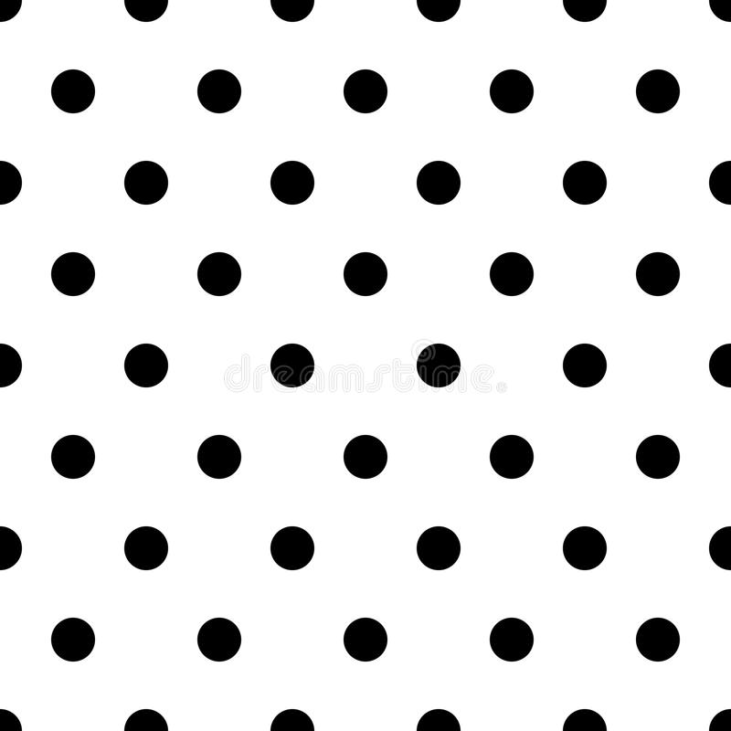 Retro pattern with black polka dots on white background royalty free illustration