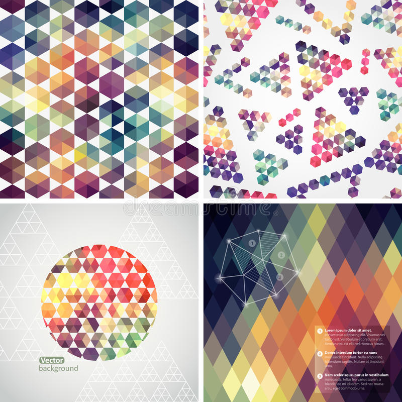 Retro pattern of geometric shapes. Colorful mosaic banners. Geom. Etric hipster retro background with place for your text. Retro triangle background. Set of four vector illustration