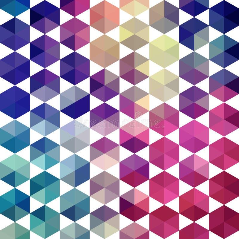 Retro pattern of geometric shapes. Triangle colorful mosaic back stock illustration