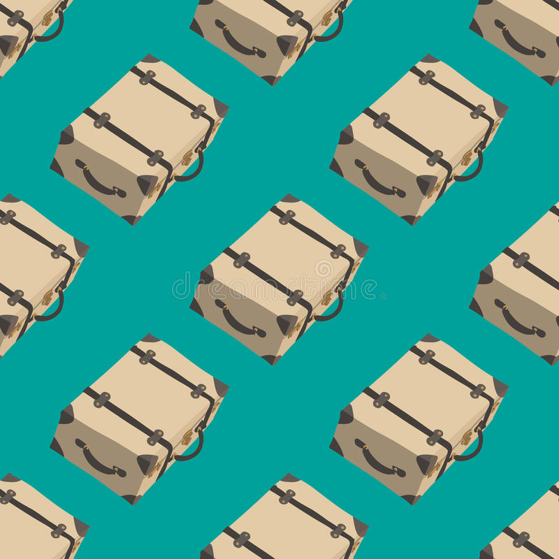 Retro pattern with suitcase. Travel background royalty free stock photo