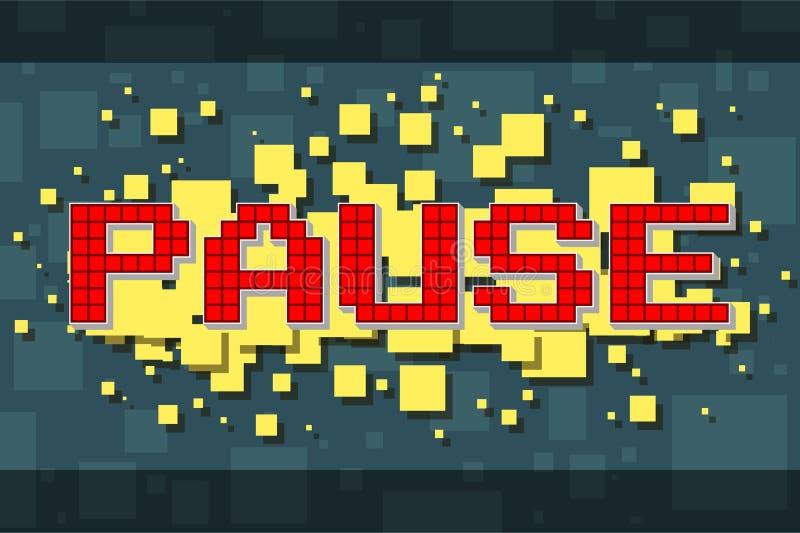 Retro pausknapp för rött PIXEL för videospel royaltyfri illustrationer