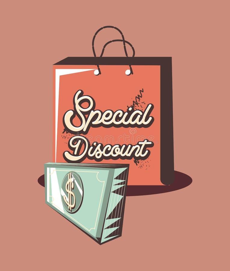 Retro pengar för sedel för special rabatt för shoppingpåse vektor illustrationer