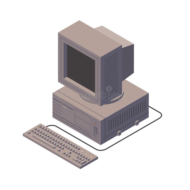 Retro personal computer. Old PC with display, keyboard. Isometric vector illustration. stock illustration