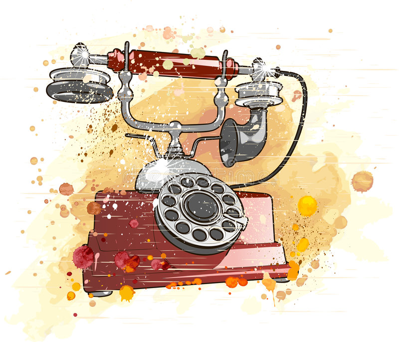 Retro phone. Vector old phone & watercolor background stock illustration