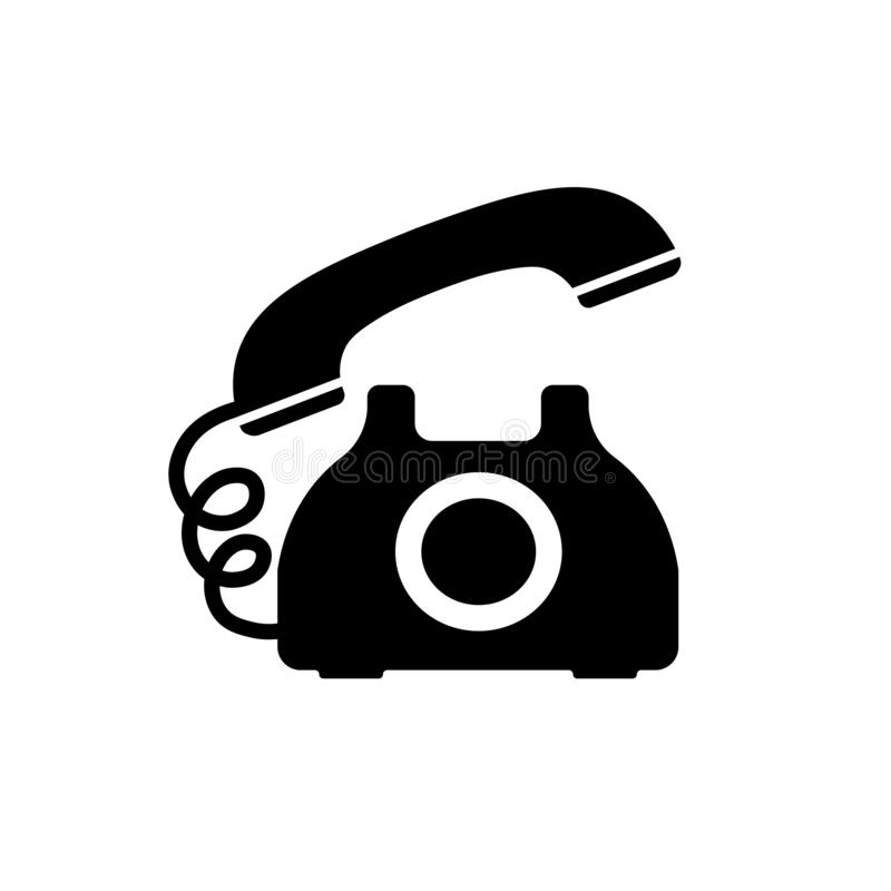 Retro phone icon in black in flat style stock illustration