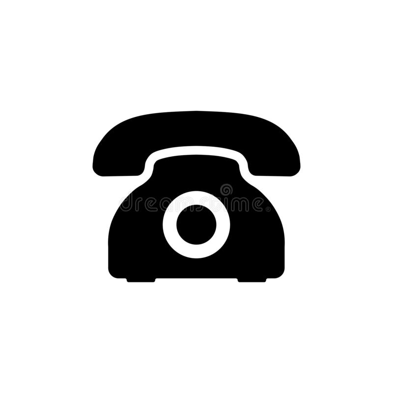 Retro phone icon. Vector telephone symbol in flat royalty free illustration
