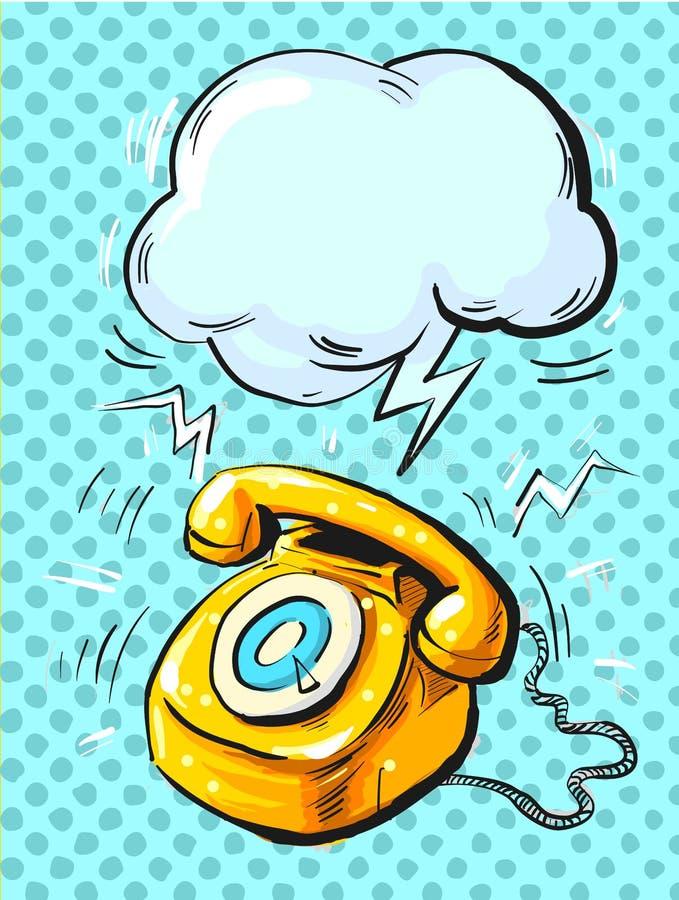Retro phone ringing, in pop art style Vector illustration of an old style, vector illustration