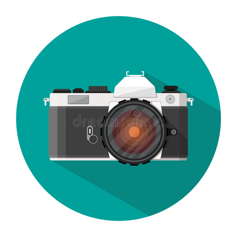 Retro photo camera icon. With long shadow. vector illustration in flat style isolated on white royalty free illustration