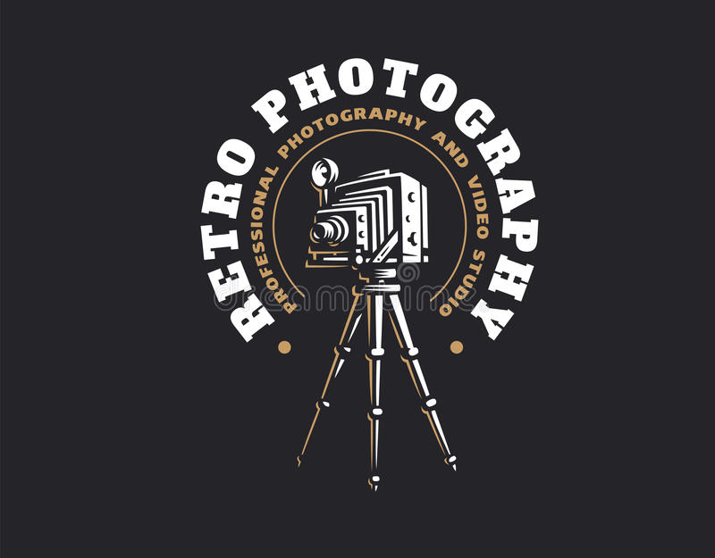 Retro photo camera logo - vector illustration. Vintage emblem royalty free illustration