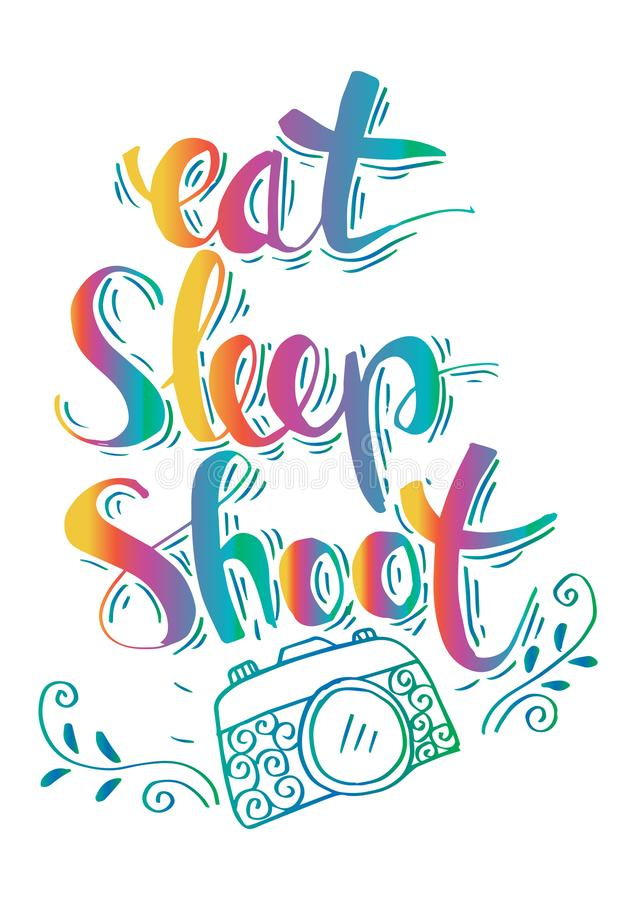Retro photo camera with stylish lettering - Eat, Sleep, Shoot -. Hand drawn typography. Print for your t-shirt design vector illustration