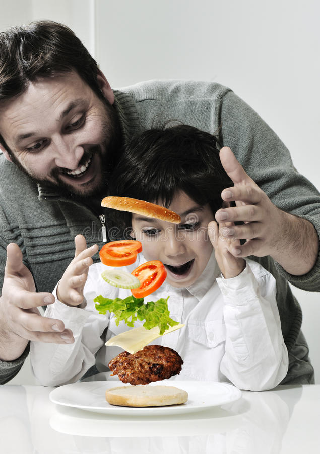 Retro photo of dad and son royalty free stock photography