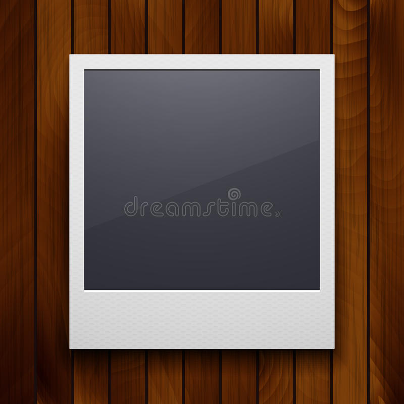 Retro photo frame isolated on red wood texture royalty free illustration