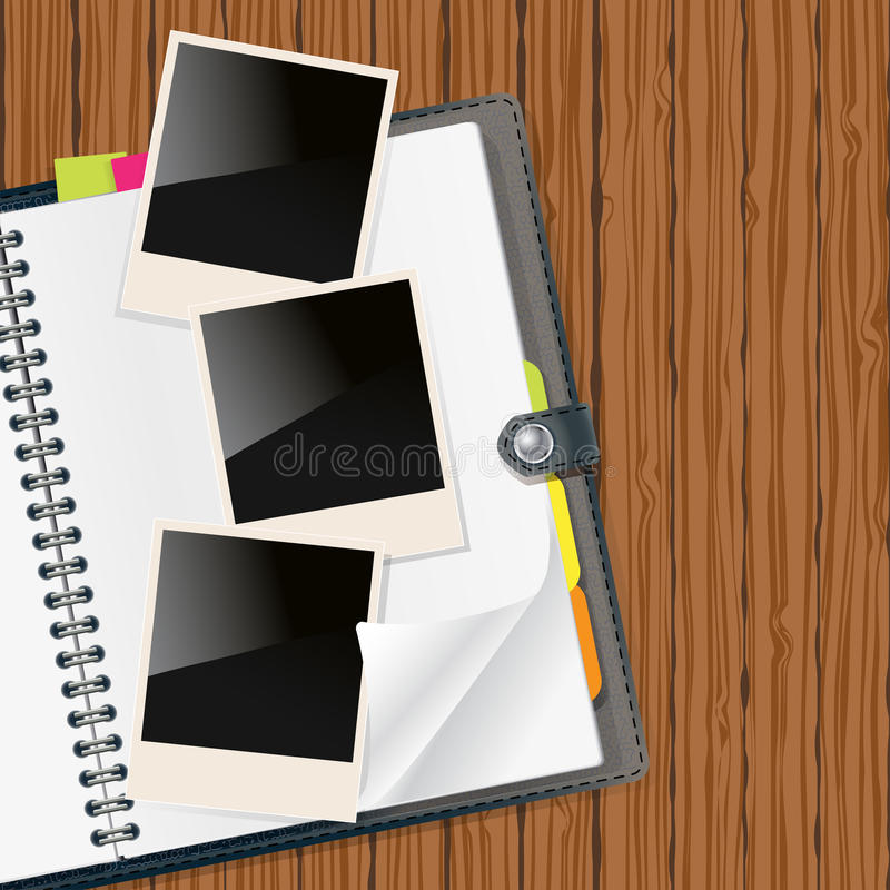 Retro photo frames on open diary. With wooden background vector illustration