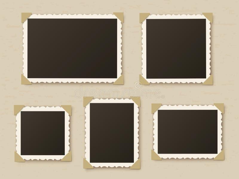 Retro photo frames. Vintage paper picture frame template for nostalgia scrapbook. Retro photos borders in album corners vector illustration