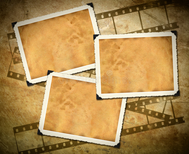 Retro photo framework, old paper, filmstrip stock illustration
