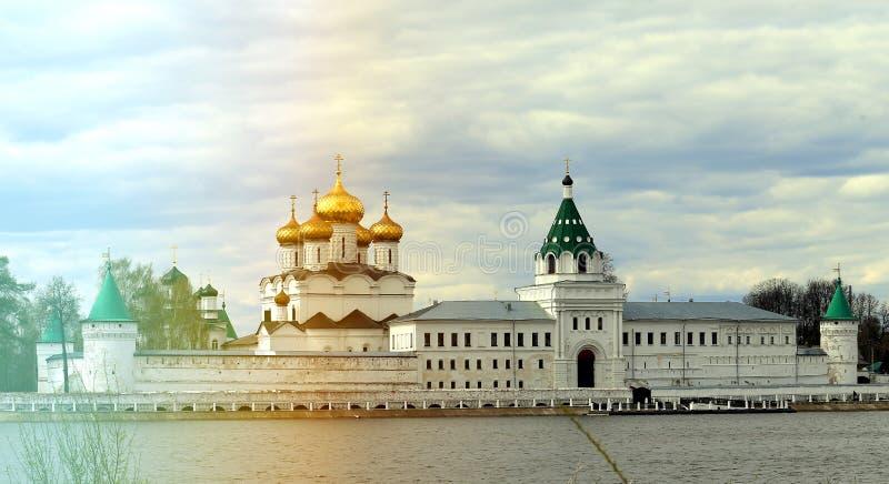 Retro photo of the Monastery on the Volga River in Russia stock image