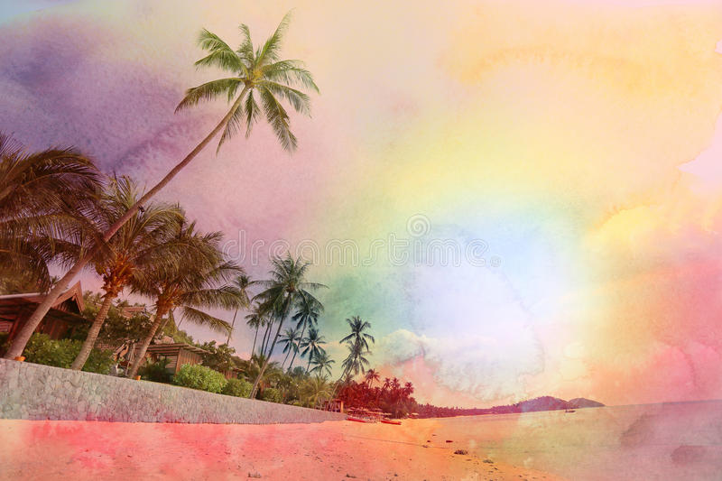 Retro photo of palm trees. Retro photo of watercolor palm trees on a tropical island royalty free illustration