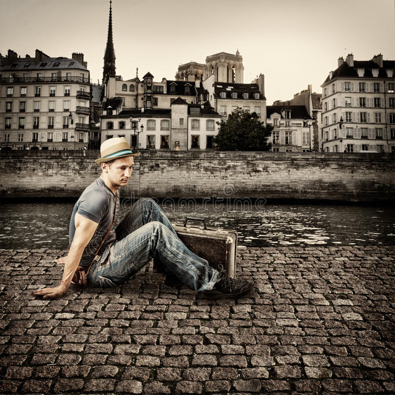 Download Retro Photo Of Young Handsome Man Traveler Stock Image - Image of architecture, architectural: 32046491