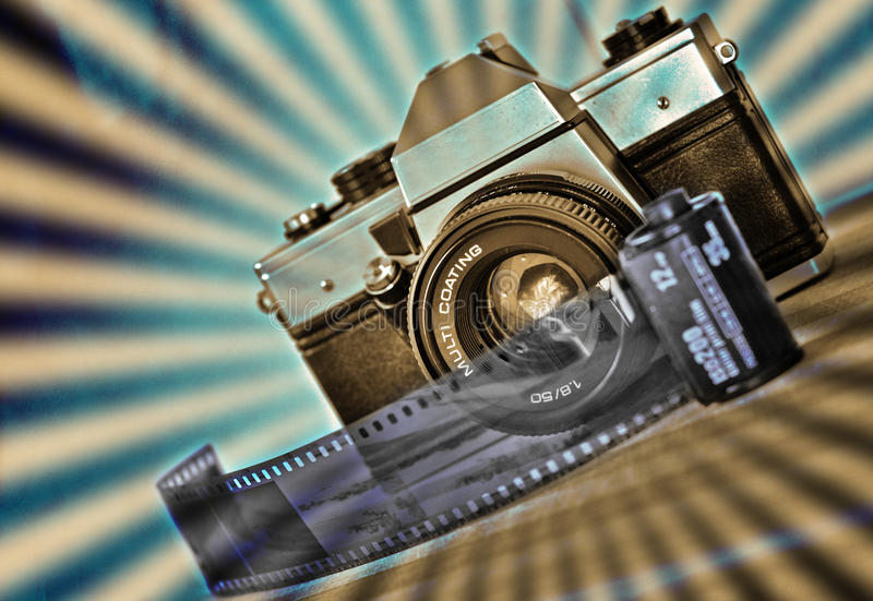 Retro photography. Old mechanical camera with film