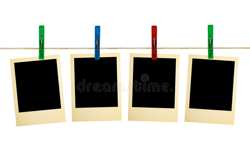 Retro photography on clothespins stock image