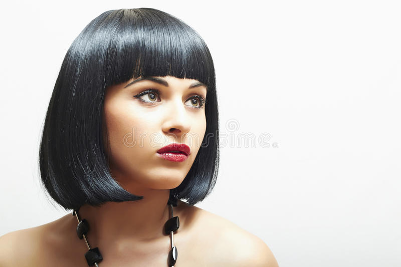 Retro Piękna brunetki Girl.bob Haircut.red lips.beauty kobieta obrazy stock