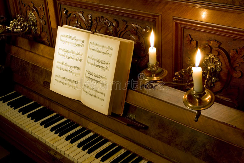 Download Retro Piano With Candle Light Stock Photo - Image of classical, piano: 14274230