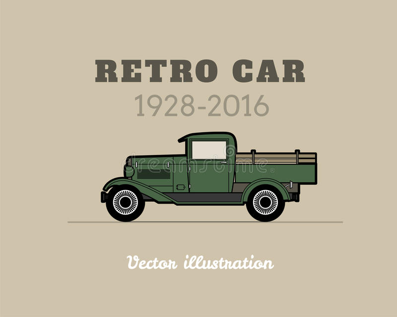 Retro Pickup, Truck Car, Vintage Collection Stock Vector