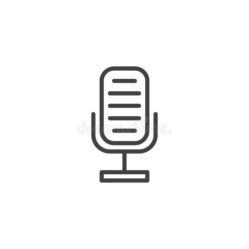 Retro pictogram van de microfoonlijn stock illustratie