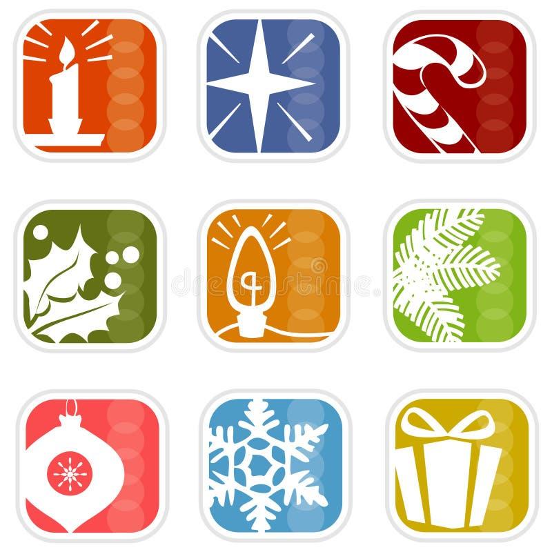 Retro Pictogrammen van Kerstmis van Mod. royalty-vrije illustratie