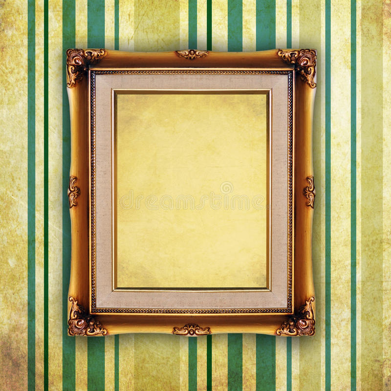 Retro picture frame on old wall vector illustration