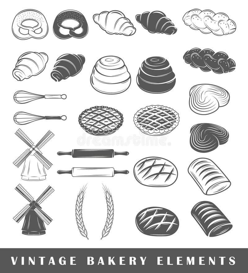 Retro piekarnia elementy ilustracji