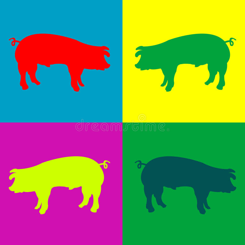 Retro pigs vector illustration