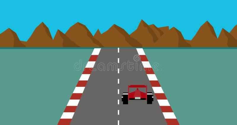 Retro piksel sztuki stylu samochodu wyścigowego gry wektor royalty ilustracja