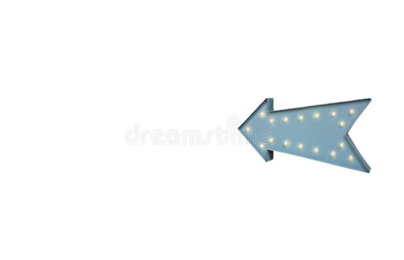 Retro pil med gl?dande ljus volymram Realistiskt scalable med den volymetriska symbolen 3d p? ljus kula Tomt avst?nd f?r text royaltyfri foto