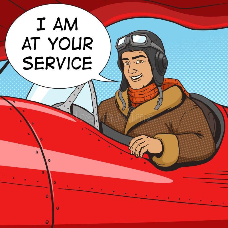 Retro pilot w rocznika samolotu wystrzału sztuki stylu wektorze royalty ilustracja