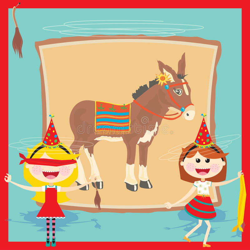 Download Retro Pin The Tail On The Donkey Birthday Party Stock Vector - Image: 23766623