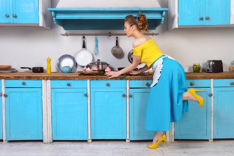 Retro pin up colorful woman housewife stock photo
