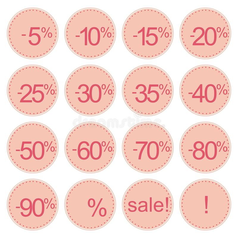 Retro pink sale icons, tag stickers or labels royalty free illustration