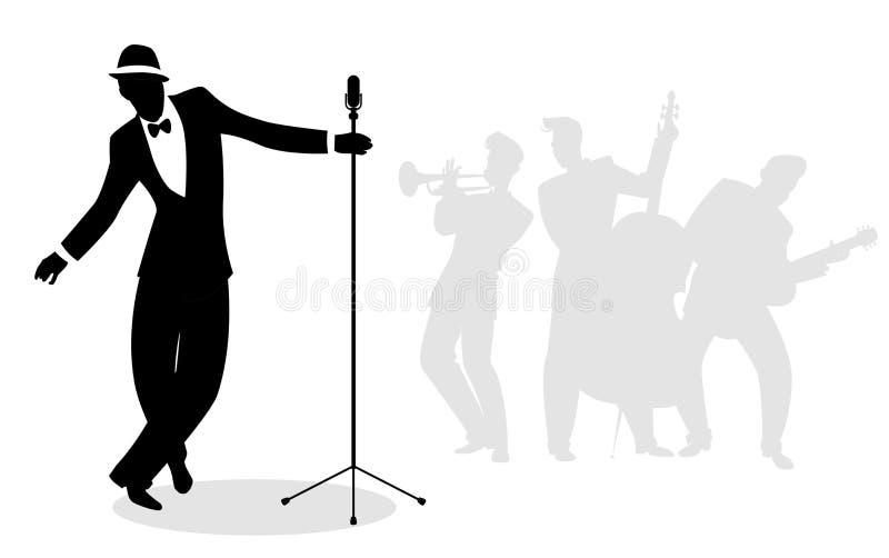 Retro piosenkarza ` pieśniarza ` sylwetka z muzykami w backgrou royalty ilustracja