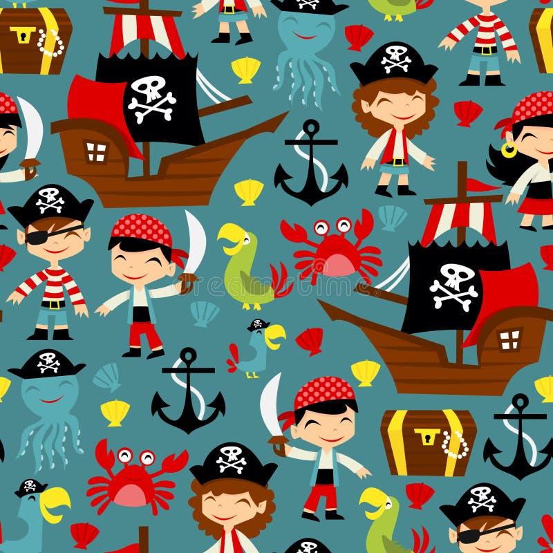 Retro pirat przygody Bezszwowy Deseniowy tło fotografia stock