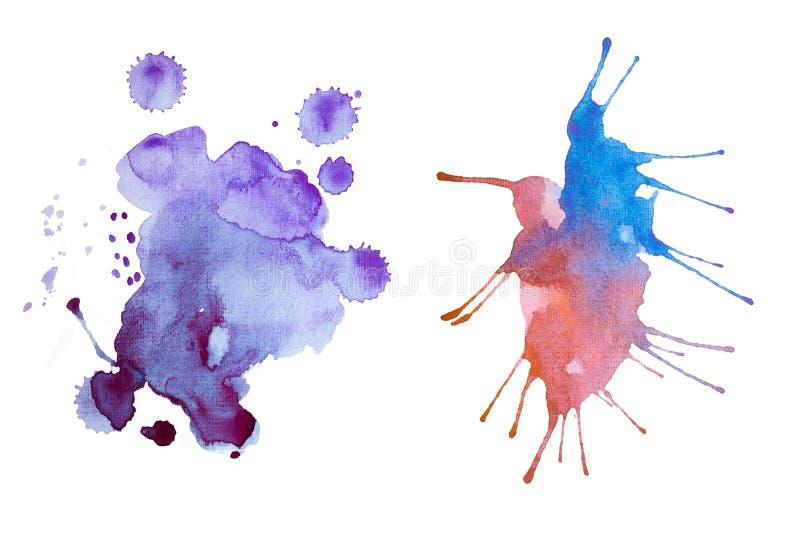 Retro pittura astratta d'annata variopinta dell'acquerello/acquerella arte della mano su fondo bianco illustrazione di stock