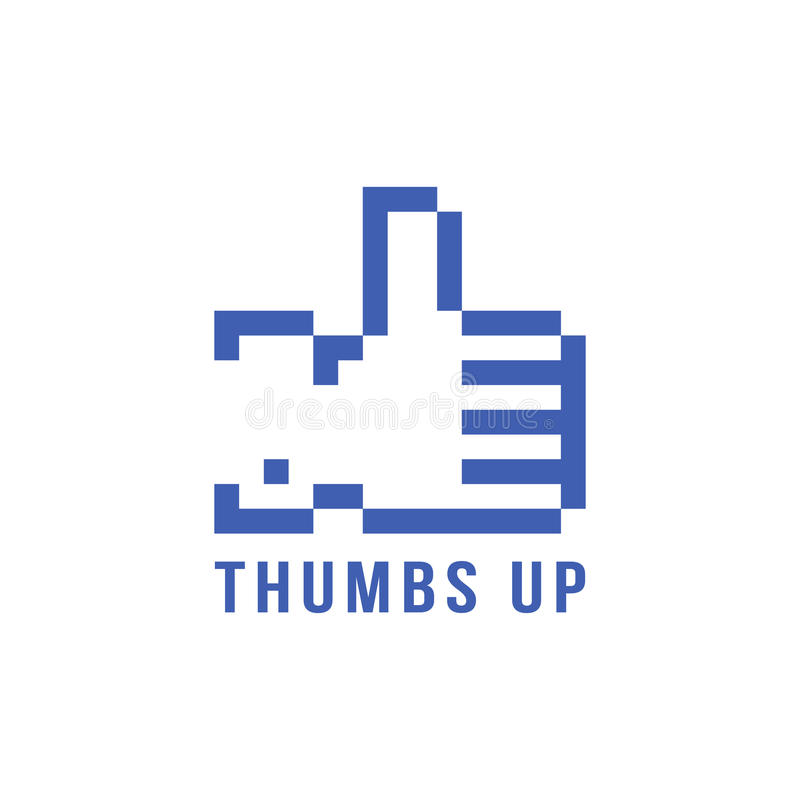 Retro pix element thumbs up icon vector illustration