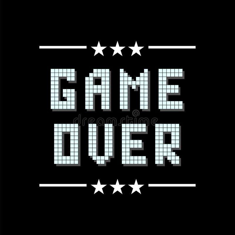 Retro- Pixel-Spiel ?ber Zeichen mit Sternen auf schwarzem Hintergrund Spielkonzept Videospiel-Schirm vektor abbildung