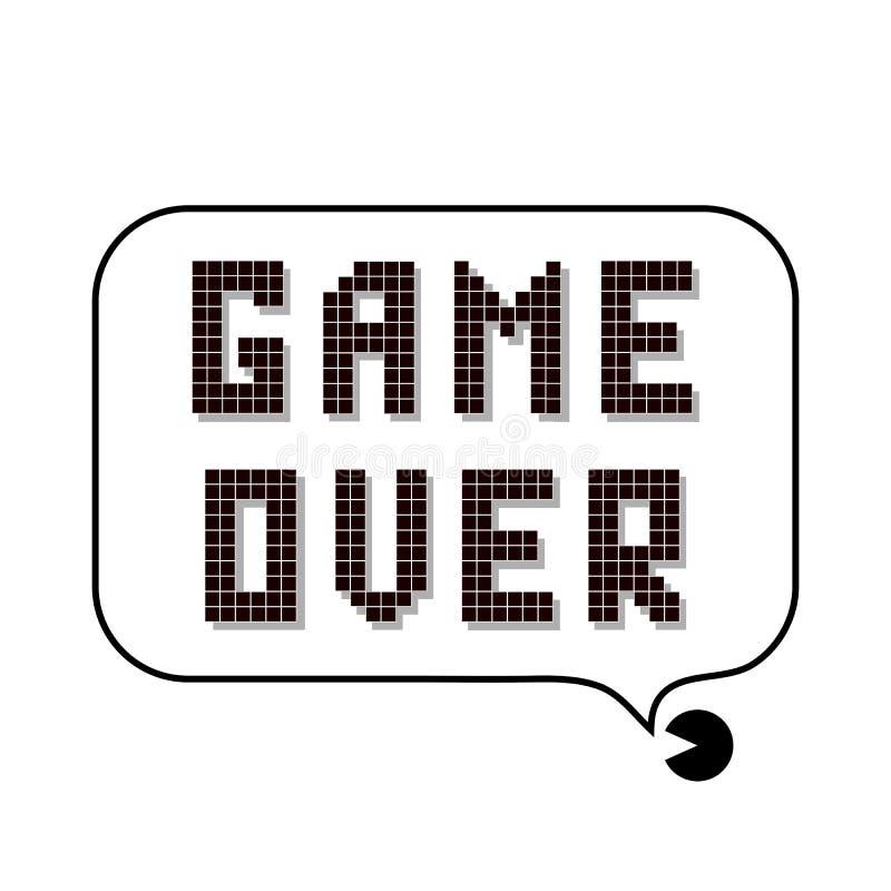 Retro- Pixel-Spiel ?ber Zeichen mit Sprache-Blase Spielkonzept Videospiel-Schirm lizenzfreie abbildung